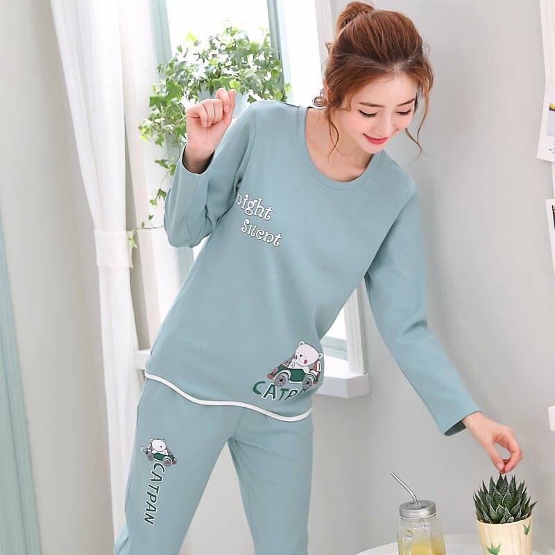 2020 Cartoon Print Pajama Sets Women Long Sleeves O-Neck Plus Size Home Clothes Pink Sleepwear Spring Autumn Winter Sleepwear