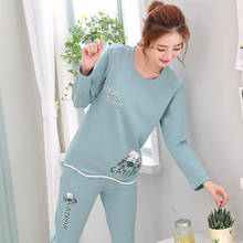 2020 Cartoon Print Pajama Sets Women Long Sleeves O-Neck Plu