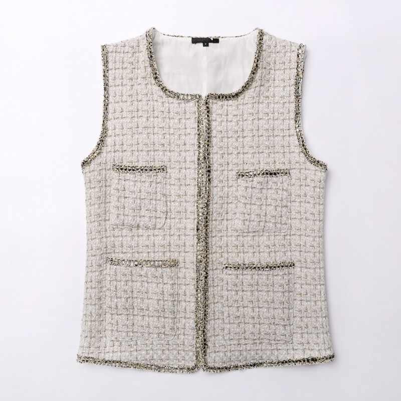 Zima nowy francuski styl bez rękawów kobiet Tweed kamizelki Chic pokryte przycisk O-Neck kieszenie eleganckie szczupłe kobiece krótkie kamizelki