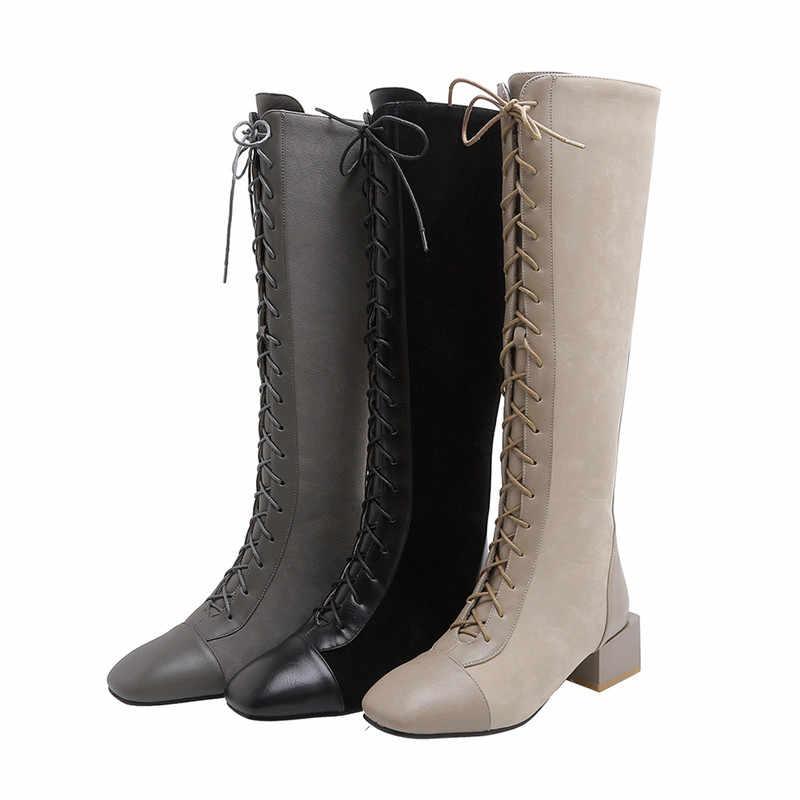 MORAZORA 2020 top qualité faux cuir + troupeau genou bottes hautes femmes à lacets fermeture éclair automne hiver bottes femme talons carrés chaussures