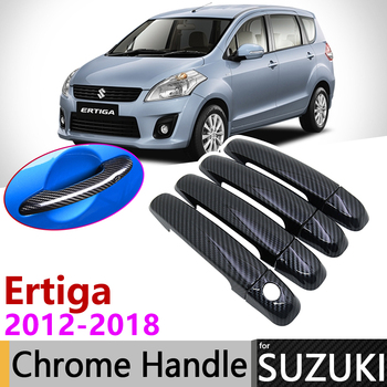 Black Carbon Fiber Door Handle Cover for Suzuki Ertiga 2012~2018 2013 2014 2015 2016 2017 Accessories Stickers Trim Set Chrome image