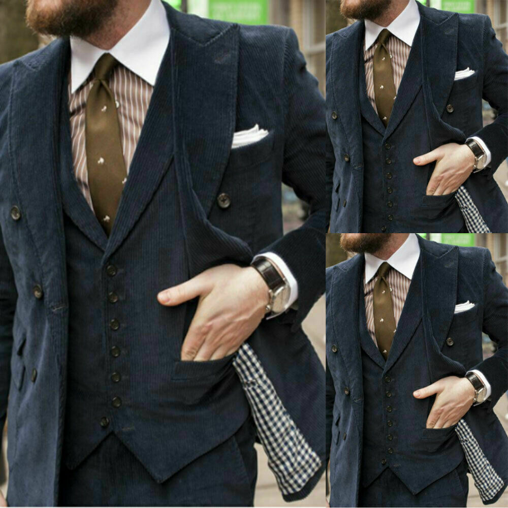 Dark Grey Corduroy Men's Suits Office Tailored Fit Jacket Waistcoat Male Blazer Peaked Lapel Tuxedos 3 PCS Coat & Vest & Pants 1