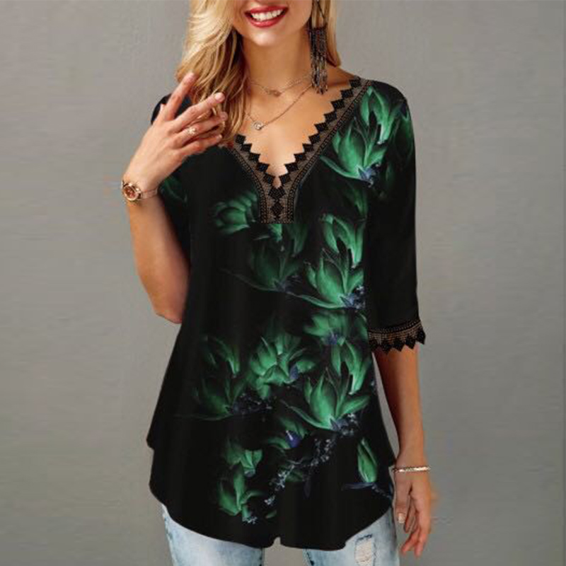 Plus Size 5XL Printed Blouse Women's Tunics V-neck Lace Half Sleeve Floral Casual Female Blouses 2020 Summer Ladies Tunic Tops
