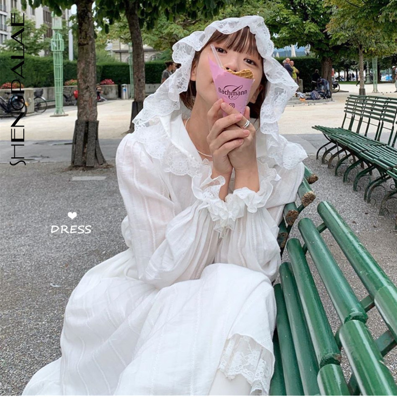 SHENGPALAE 2020 New Spring White Long Sleeve Hooded Women Vestidos Split Joint Lace Loose Korean Fashion Women Dress FU090