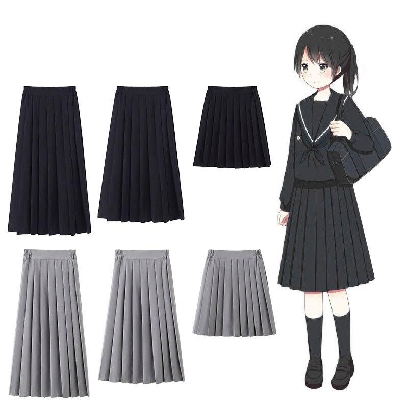 Japanese Style College Uniforms Girls Women Solid Pleated Skirt High School Student JK Suits Academy Preppy Sailor Sakura Dress