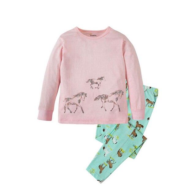 Children Sleepwear Baby Nightwear Pyjamas Kids Homewear Nightwear Full Sleeve Cotton Baby Girls Unicorn Pajamas Sets 6