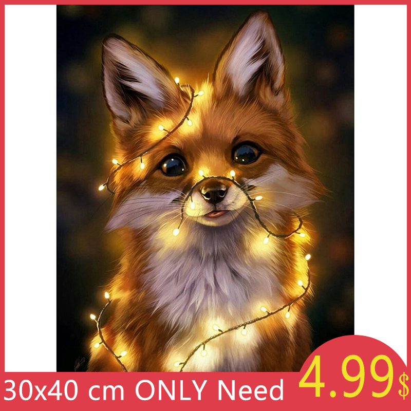 Sunstarry 5D DIY Diamond Painting Full Square/Round Drill Embroidery Animals Fox Pattern Rhinestones Diamond Mosaic Picture Kits image