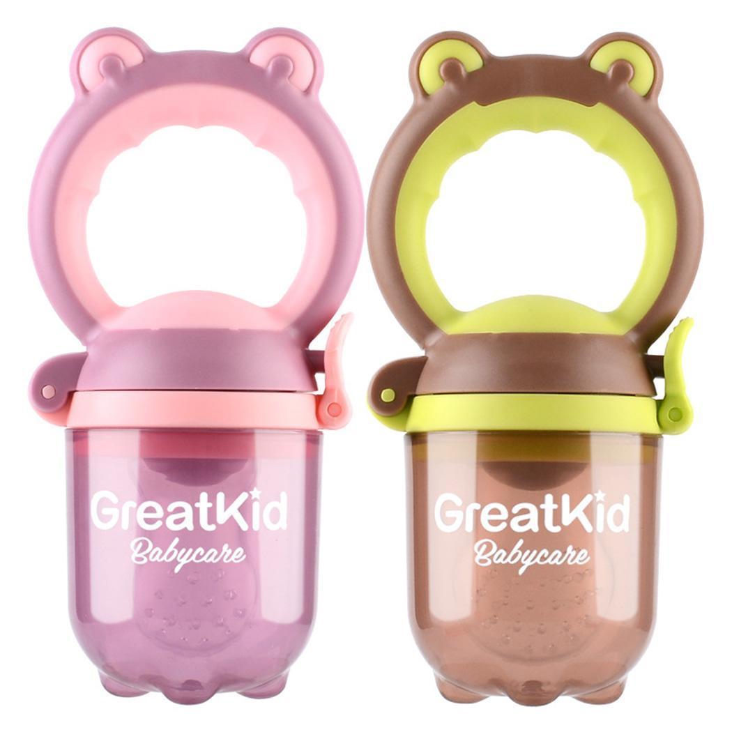 Baby Teething Fruit Vegetable Pacifier Silicone Cartoon Food Pink, Green Feeding Nipple