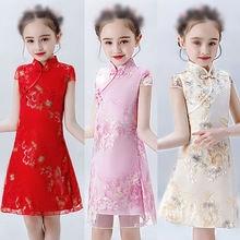 2020 new chinese style retro dress children's  fashion girls