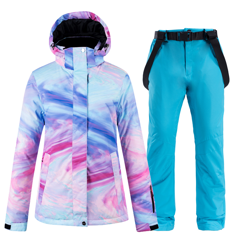New Colorful Snow Suit Wear Women's Snowboard Clothing Winter Waterproof Thicken Costumes Outdoor Ski Jacket + Snow Bibs Pants