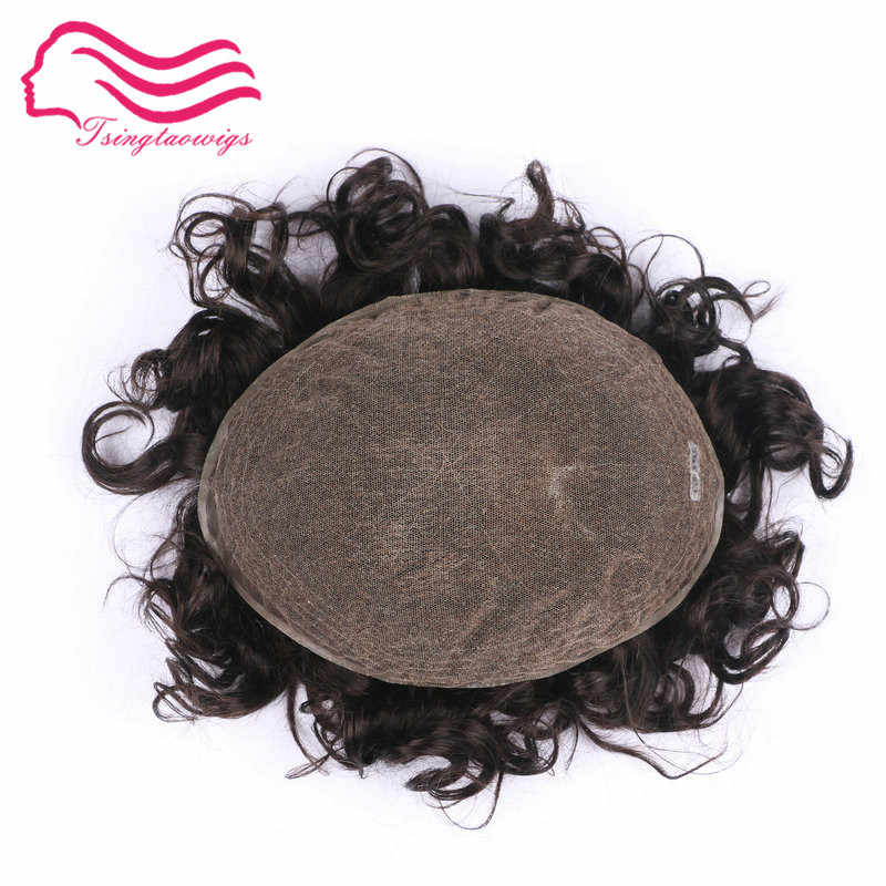 Tsingtaowigs ,  french lace base  2.5 cm wave Indian remy hair men toupee  ,   hair men wig , hair replacment  free shipping