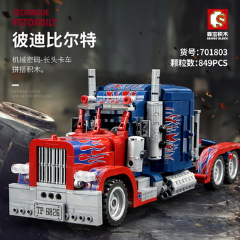 849PCS Peterbilt 389 Heavy Container Truck Technic Model Building Blocks Set Classic Car Bricks Children Construction Toys Gifts 1