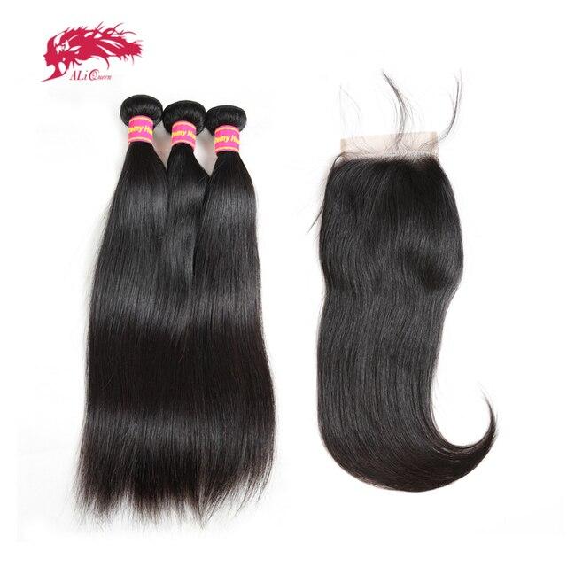 알리 퀸 헤어 3/4pcs 브라질 스트레이트 레미 인간의 머리카락 묶음 4x4 투명 레이스 폐쇄와 번들