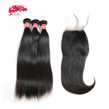 Ali Queen волосы 3/4 шт. бразильские прямые волосы Remy человеческие волосы пряди с Закрытие 4x4 прозрачного кружева закрытие с пряди