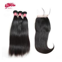Ali Queen Hair 3/4pcs Brazilian Straight Remy Human Hair Bundles With Closure 4x4 Transparent Lace Closure With Bundles