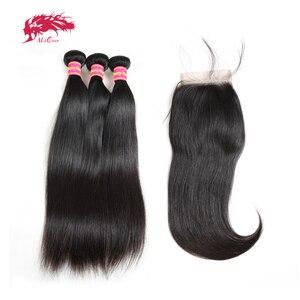Image 1 - Ali kraliçe saç 3/4 adet brezilyalı düz Remy insan saç demetleri ile kapatma 4x4 şeffaf dantel kapatma demetleri ile