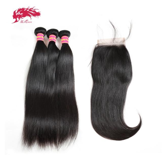 Ali kraliçe saç 3/4 adet brezilyalı düz Remy insan saç demetleri ile kapatma 4x4 şeffaf dantel kapatma demetleri ile