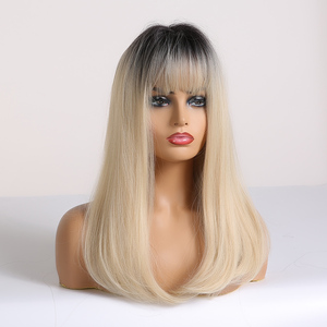 Image 2 - EASIHAIR Long Straight Black to Blonde Ombre Wigs with Bangs Synthetic Wigs for Women Cosplay Wigs Heat Resistant Light Blonde