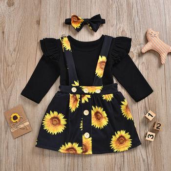 Baby Girl's Sunflower Patterned Clothing Set 2