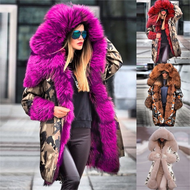 Women Plus Size Winter Jacket Coat Hooded Overcoat Cotton Coat Women Faux Fur Coat Warm Parka Womens Thick Furs Military Coat