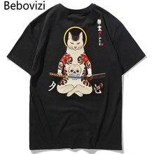 Beboviziブランド 2020 ストリート日本スタイル浮世絵面白いサムライ猫tシャツメンズ半袖tシャツヒップホップ刺繍tシャツ