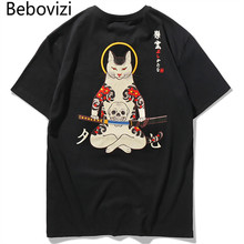 Бренд Bebovizi 2020 уличная одежда в японском стиле укиё э Забавные футболки с самурайским котом мужские футболки с коротким рукавом в стиле хип хоп футболки с вышивкой