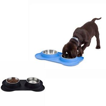 Cuencos para perros, accesorios para mascotas, cuenco de silicona de acero inoxidable, doble petantideslizante, almohadilla de hueso a prueba de fugas para perros