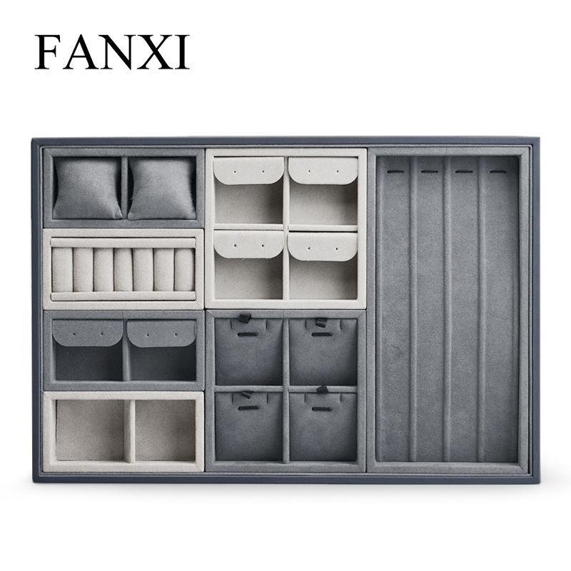Fanxi Jewelry Display Tray Microfiber Jewelry Organizer Tray Gray Ring Necklace Bracelet Display Storage Tray Multifunctional