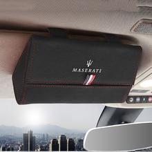 Car Glasses Case For Maserati Granturismo Quattroporte GTS Ghibli Levante Sun Visor Glasses Storage Box Organizer Holder Clip