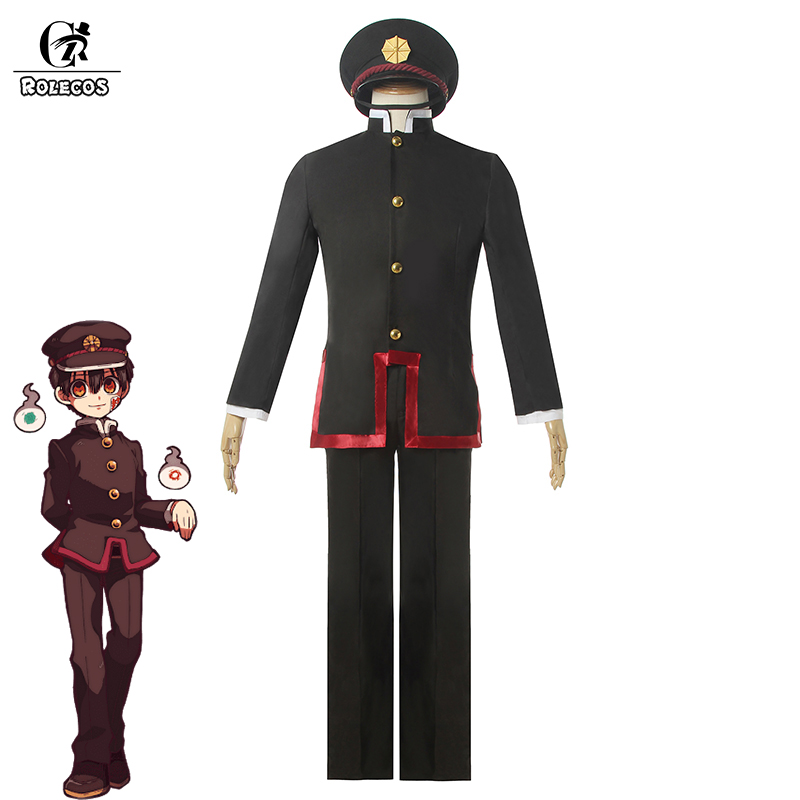 ROLECOS Anime Toilet-bound Hanako-kun Cosplay Costume Men Uniform Jibaku Shounen Hanako-kun Cosplay School Uniform Hat Suit