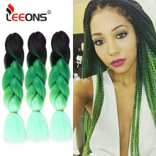Leeons Ombre Xpression Braiding Hair Synthetic Olive Green Jumbo Crochet Hair Extension 24 Inches Top Selling Hair Braids(China)