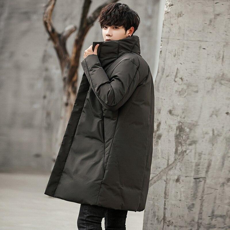 2018 мужской пуховик средней длины в Корейском стиле, толстое молодежное повседневное Мужское пальто со стоячим воротником, Черное и белое пуховое пальто с рисунком