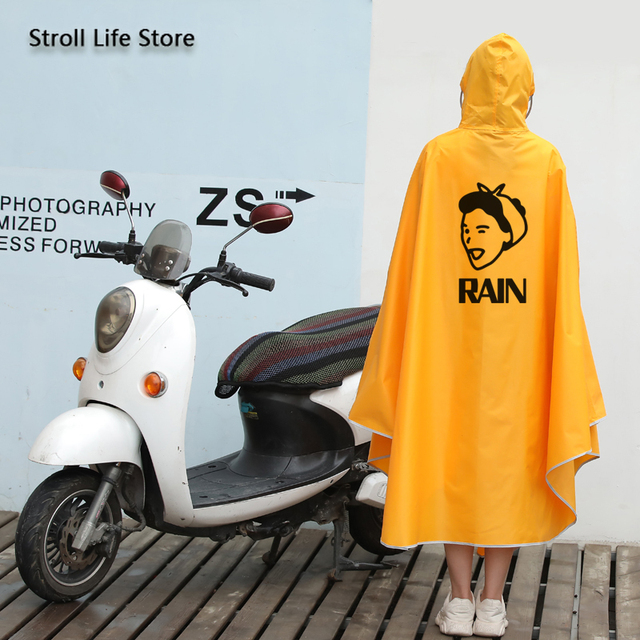 Electric Motorcycle Cute Yellow Rain Coat Women Girls Cartoon Long Raincoat Riding Bicycle Poncho Rain Jacket Cover Impermeable