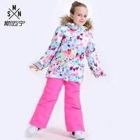 SMN Girls Ski Suit Kids Ski Jacket Pant Windproof Waterproof Super Warm Fur Hooded Outdoor Sport Wear Child Snowboard Coat Pant