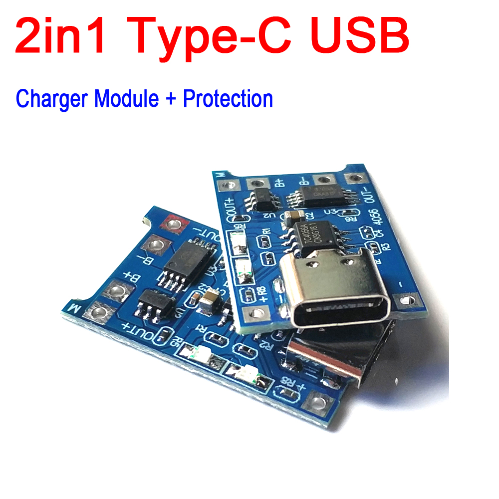 2IN1 Lithium <font><b>Charger</b></font> Charging Protection / Protection <font><b>Board</b></font> Combo Type-C USB TP4056 1A <font><b>1S</b></font> 5V 3.7V 18650 Li-ion <font><b>Lipo</b></font> CELL image