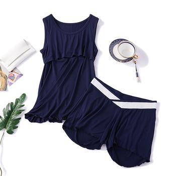Zestaw do karmienia piersią bez rękawów 2 sztuk zestaw bielizna nocna dla kobiet w ciąży bawełna karmienie piersią piżamy zestaw dla kobiet w ciąży tanie i dobre opinie CN (pochodzenie) REGULAR POLIESTER szorty