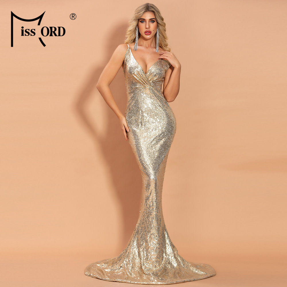 Missord 2020 Womem Deep V Off Shoulder Backless Sequin Dresses Female Bodycon Elegant Maxi Dress  FT20112