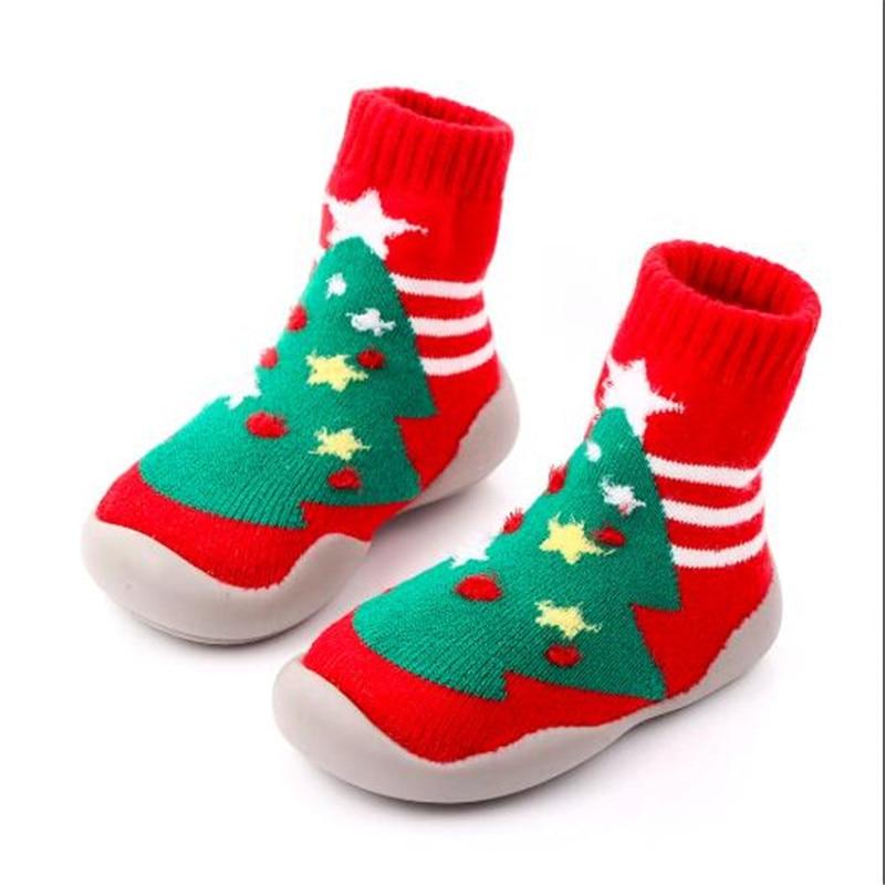 Christmas Gift Baby Shoes Kids Outdoor First Walker Children Soft Rubber Sole Socks Shoes Antislip Boys Girls Floor Socks