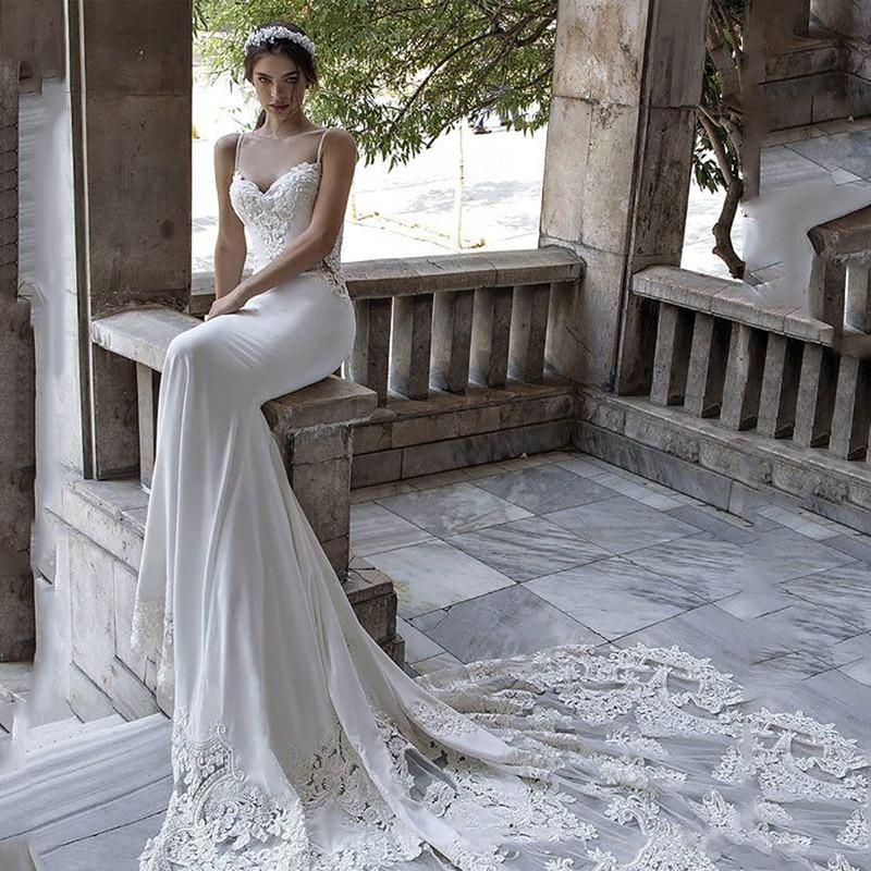 LORIE Mermaid Wedding Dress 2020 Spaghetti Strap Vestidos De Novia Vintage Lace Sweetheart Bridal Gown Backless Wedding Gowns