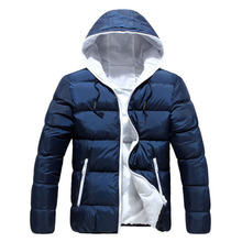 Men Winter Hooded Jacket Long Sleeve Thicken Puffer Padded Coat Warm Ultralight