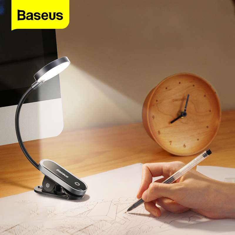 Baseusクリップテーブルランプledデスクランプ柔軟なタッチ研究読書ランプ寝室のベッドサイド用デスクトップusb充電式テーブルライト