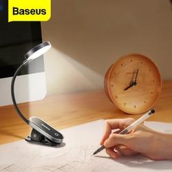 Baseus Clip Table Lamp LED Desk Lamp Flexible Touch Study Reading Lamp For Bedroom Bedside Desktop USB Rechargeable Table Light