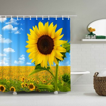 Dafield Sunflower Shower Curtain Home Good Sunflower Bath Curtain Flower Fabric Sunflower Bathroom Curtain For Bath Room фото