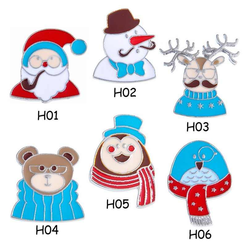 Navidad carnaval Santa Claus Nochebuena muñeco de nieve oso alce hámster Navidad dibujos animados broche aceite para pines 2020 moda