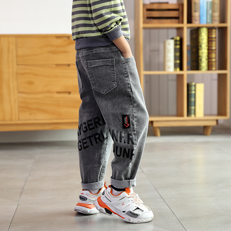 DIIMUU Kids Fashion Pants Elastic Waist Cool Casual Teenager Clothes Jeans for Boys Trousers