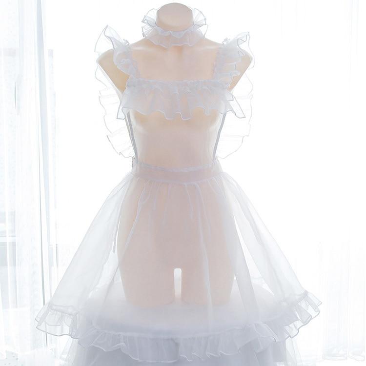 Beautiful Organza Bubble Transparent Dress Overall Suspender Dress Lolita Nake Apron Sexy Dress Lingerie Costume Babydoll