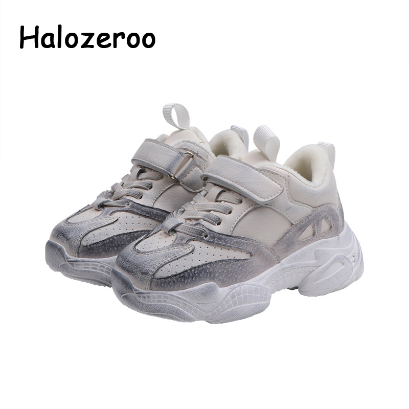 Winter Kids Sport Sneakers Children Casual Sneakers Toddler Boys Genuine Leather Brand Shoes Baby Girls Chunky Sneakers Trainers