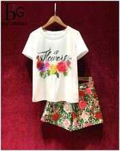 Baogarret Runway Designer Summer Shorts Two-Pieces Womens Short Sleeve letter Print White Tees + Leopard Casual Set