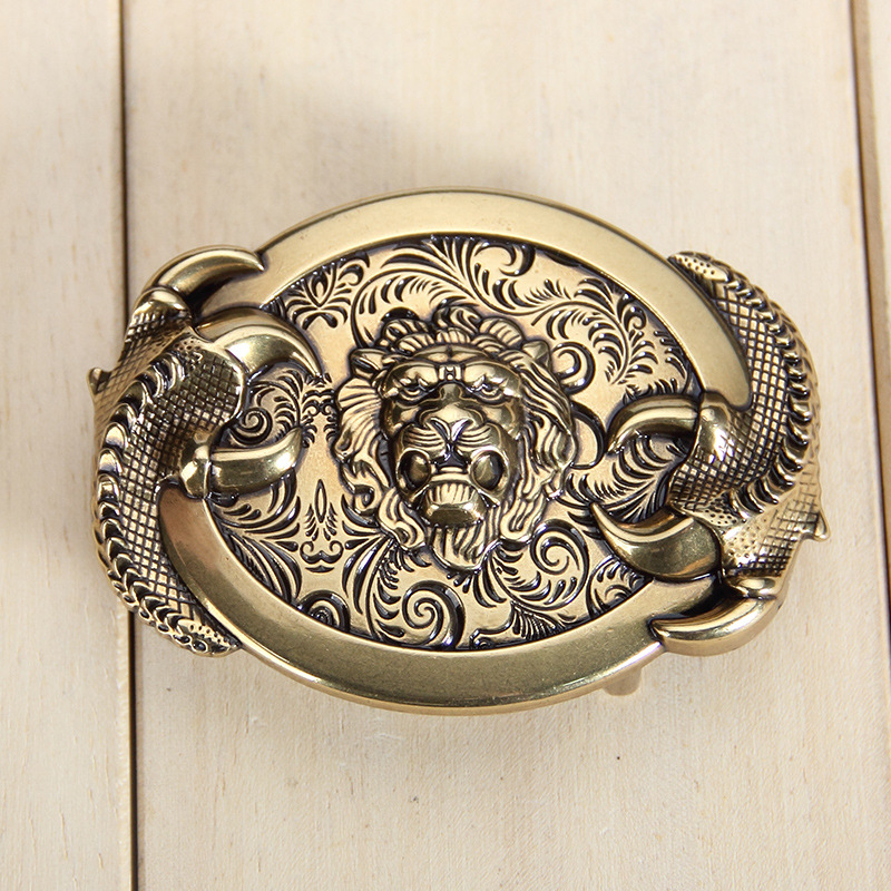 Men's Lion Pattern Zinc Alloy Smooth Belt Buckle Suitable For 3.8 Cm Wide Belt Dragon Belt Buckles