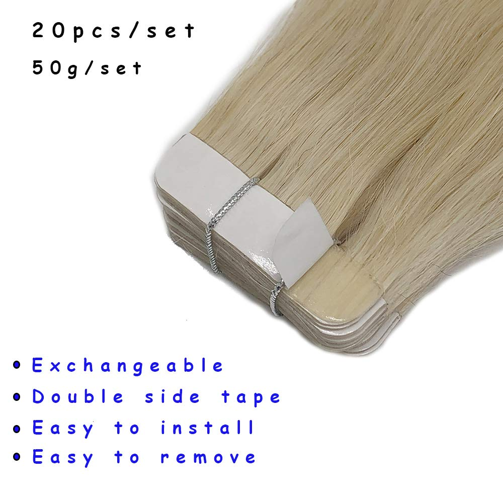 Rooted Tape in Human Hair Extension for Women Glue in Remy Piece Seamless Skin Weft Invisible Double #613 Bleach Blonde